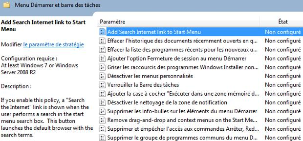 Capture décran - Configuration du paramètre Add Search Internet link to Start Menu