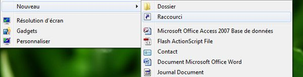 Capture décran - Bureau Windows, menu contextuel