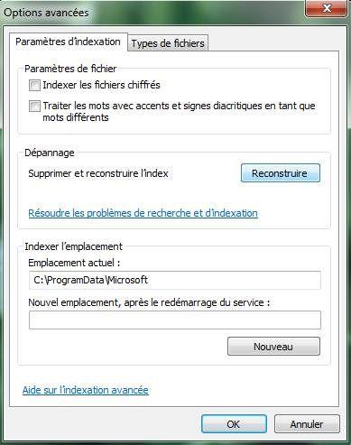 Capture d'écran - Options d'indexation, processus de remise à zéro