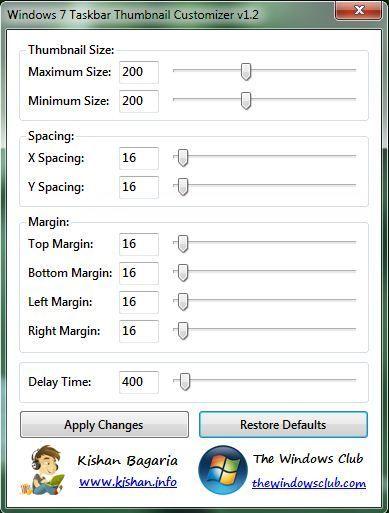 Capture d'écran - Windows 7 Taskbar Thumbnail Customizer