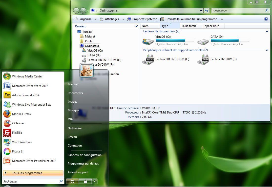 Capture d'écran - Thème Windows Seven dans Vista