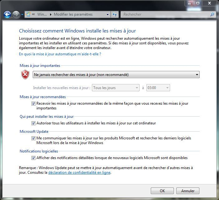 Capture d'écran - Paramètres de Windows Update sous Windows 7