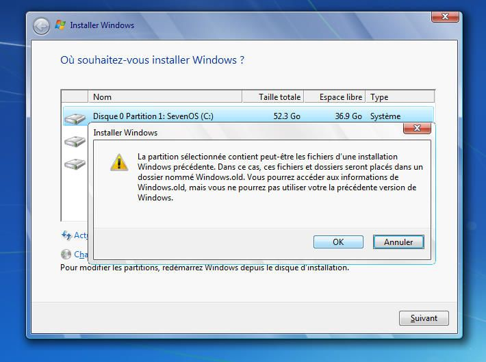 Capture décran - Installation de Windows Seven RC