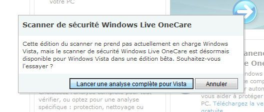 Capture décran - Analyse en ligne via Windows Live OneCare