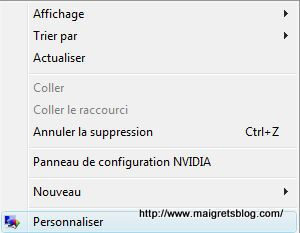 Capture décran - Menu Personnaliser du Bureau Windows