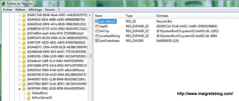 Capture décran - Modification de la chaîne du registre concernée