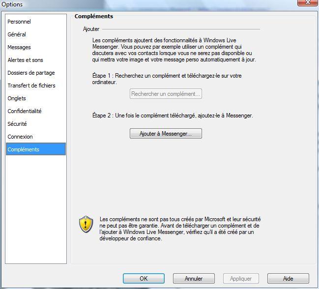 Capture d'écran - Windows Live Messenger, onglet Compléments