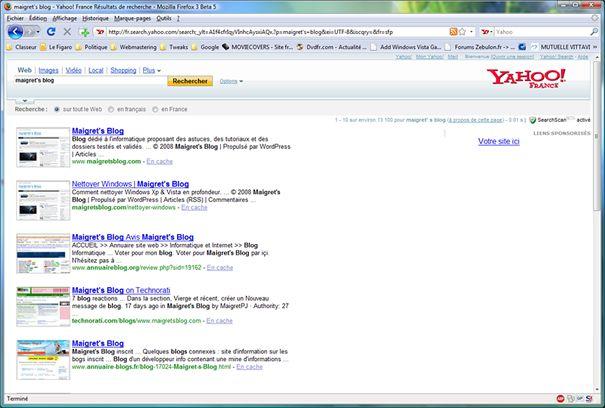 Capture d'écran - GooglePreview à l'oeuvre dans Yahoo!